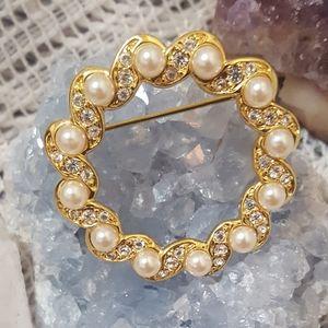 Signed Napier circle pin pearl brooch